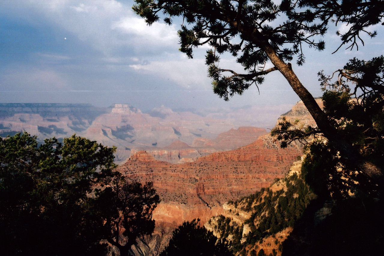 GRAND CANYON , ARIZONA: Still beautiful in spite of the summer haze and smoke from forest fires.