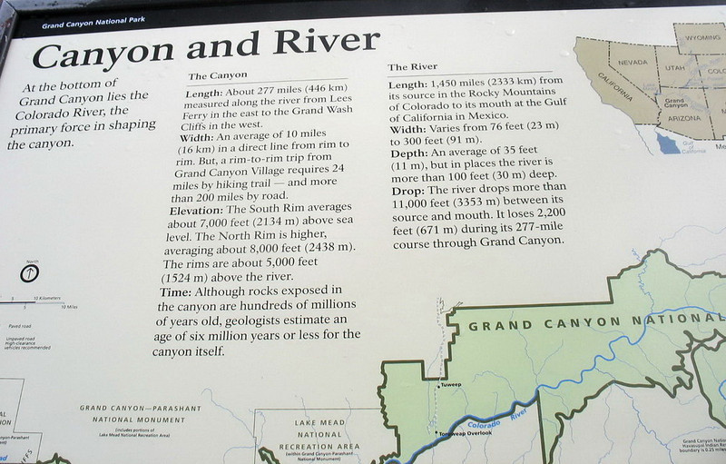 Some background information about the Grand Canyon. <u>Click to enlarge it.</u>
