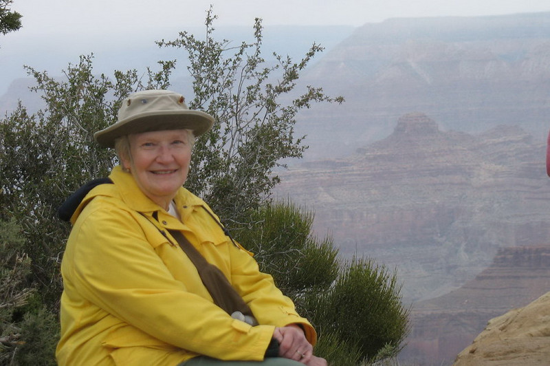 Ann with the windblown hat along the rim.