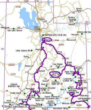 The Utah map showing our route.<br /> <br /> May 26 - from Panguitch to Red Canyon and Bryce Canyon. Then along secondary roads to Monroe, just south of Richfield.<br /> <br /> May 27 - from Monroe to Provo.<br /> <br /> May 29 - from Provo to Moab including Goblin Valley State Park and a section of Canyonlands National Park.<br /> <br /> May 30 - from Moab to Arches National Park, then south to another section of Canyonlands before stopping at Monticello.<br /> <br /> May 31 - from Monticello to Natural Bridges National Park, over the Moki Dugway and finally to Colorado.