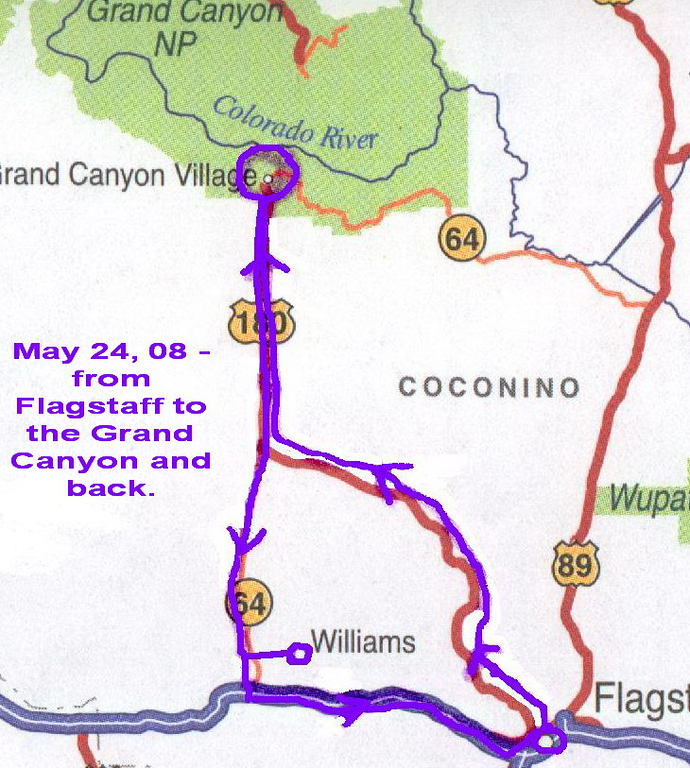 May 24, we were up at the crack of dawn.That was not difficult with a 3 hour time change. We were on the road a bit after 6:30 and arrived at the Grand Canyon shortly after 8 am. This was our route. We returned to Flagstaff through Williams.