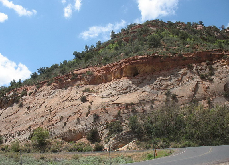 Now in UTAH. We had lunch at Mt. Carmel Junction and then drove the 11 miles into Zion National Park. <br /> <br /> The cliffs of cross-bedded Navajo Sandstone along the Zion-Mt. Carmel Highway are nearly as spectacular as the Park itself.