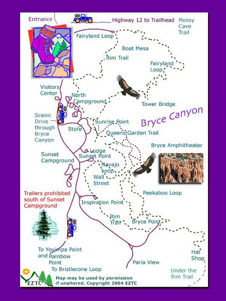 Bryce Canyon National Park plan. <u>Click to enlarge.</u>  We started behind the lodge and hiked the rim trail to Bryce Point which we found out was the more challenging direction.  It was snowing at times.