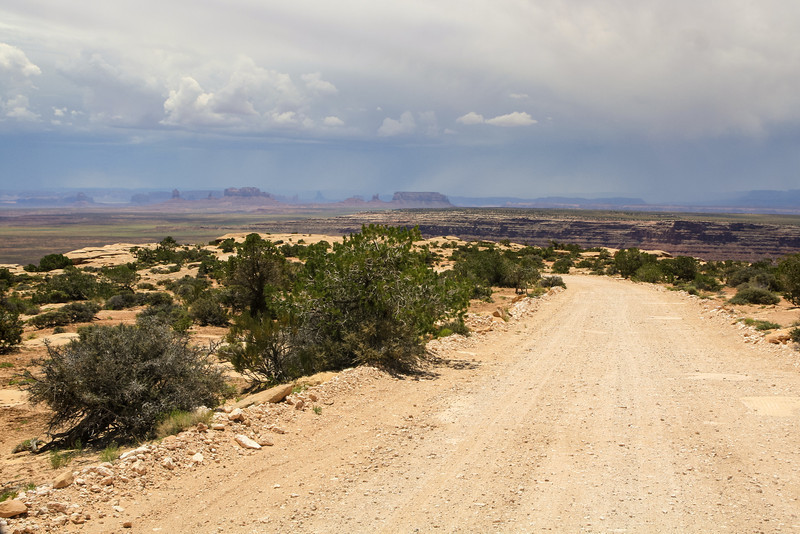 Muley Point Road with Monument Valley in the distance