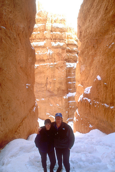 On Wall Street, entering a slot canyon on the Navajo Loop Trail, Bryce Canyon National Park.