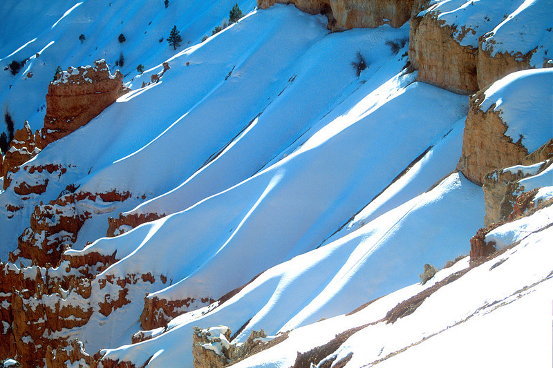 Slopes covered with snow, Bryce Canyon National Park.