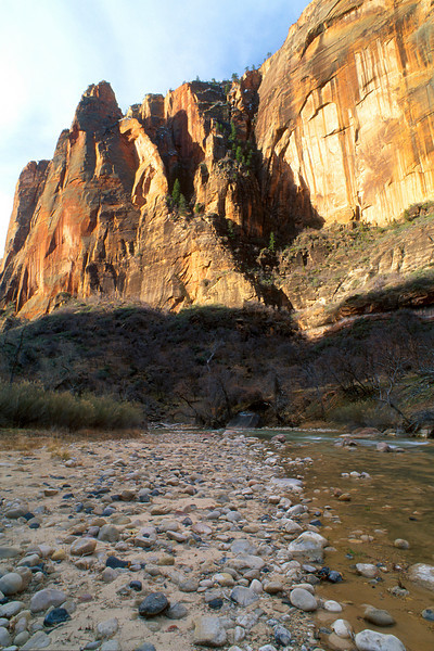 Canyon wall and stream, Zion National Park.