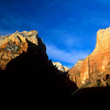 Rock walls in shadow, Zion National Park, Utah.