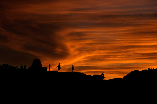 Children play at sunset, Arches National Park