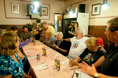 """Our """"farewell dinner"""" came a little early on this trip as we split off some of the group a few days in.  Nick reviews the upcoming itenerary"""