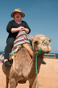 Mary's not too sure about this camel thing..