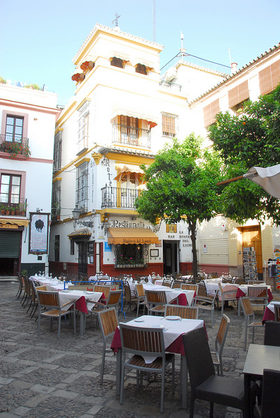 Our hotel for our stay in Seville.  Just a short walk from the Alkazar in the middle of the old district and really quite lovely.  Not for the out of shape or those traveling with a lot of bags (as we were), though - it's a good quarter mile or so to the nearest street that a car can come down, so you have to carry your bags the rest of the way.