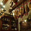 Dried meat is stored hanging in the dining room.