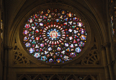 The stained glass dates from the 14th through 16th centuries.