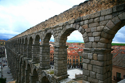 Roman aqueducts in Segovia. Surprisingly, they have not been branded the Brita Aqueducts or the Evian Canals.