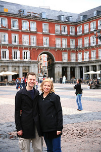 In the Plaza de Mayor in Madrid.