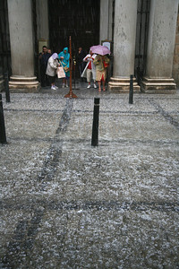 In Toledo it hailed the size of wasabi peas. The Japanese tourists filled several memory cards documenting it.