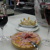 Paletilla Ibérica (Iberian ham shoulder) and Ensaladilla Rusa (Russian Salad)<br /> <br /> I had some rosé cava (wound up having 3!) while Uly had a wounderful red wine from the Penedes region (Augustus