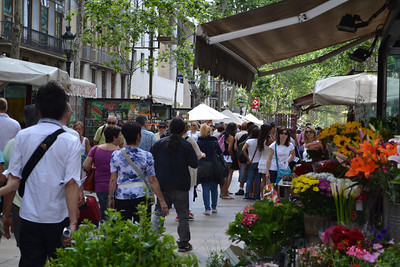 The main walking road in Barcelona is La Rambla.  Filled with flowers, people and street shows.
