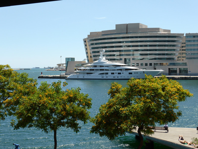 """Barcelona - another view of one of the """"super yachts""""."""