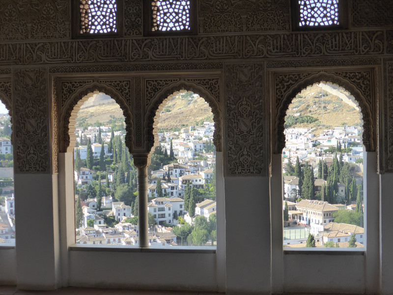 Granada - a view from the Palacio Nazaríes of the Alhambra, looking towards the old Moorish quarter.
