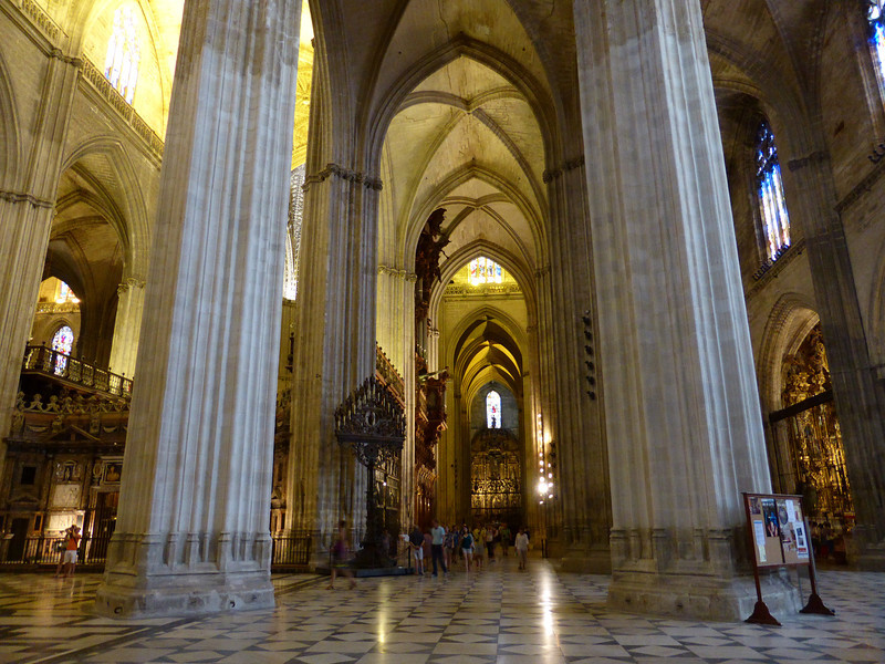 Seville - part of the interior of the massive and very impressive Cathedral, which is the third largest in Europe (behind St. Peter's in Rome and St. Paul's in London).