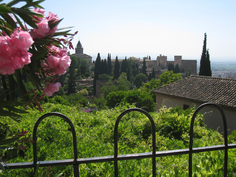 Granada -  a view of the Alhambra from the Generalife gardens.