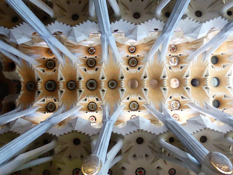 Barcelona - one of the ornate ceilings in the  Sagrada Familia.