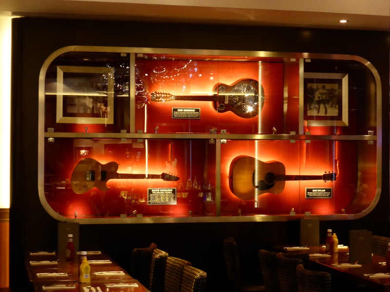 Barcelona - some of the famous Guitars on display in the Hard Rock Cafe.  These three were used by Jimi Hendrix, Keith Richards and Bob Dylan.