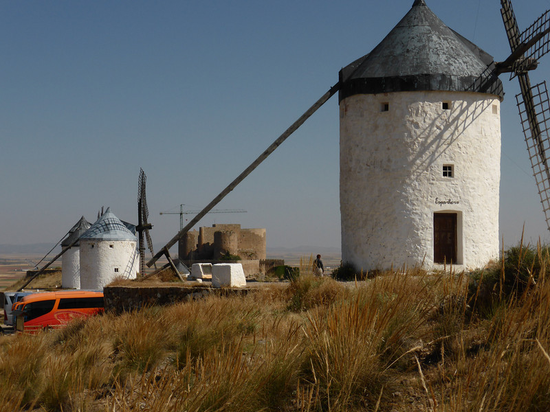 La Mancha - another view of the Windmill.  The large wooden pole on the left side is used to rotate the roof of the structure, in order to orient the windmill vanes to the strongest part of the wind.