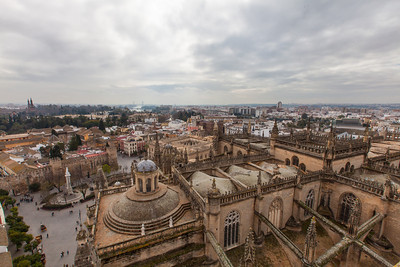 A view of the city and the Alcázar of Seville from atop the Seville Cathedral.