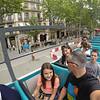 Barcelona double decker tour bus, just off the 9 hour plane ride