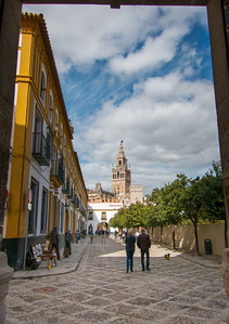 View of the Seville cathedral from the exit gate of the Alcázar.