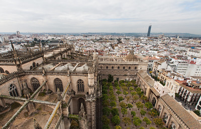 A view of the  city and the Patio de los Naranjos (part of the from atop the Seville Cathedral.