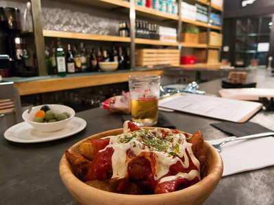 Tapas at Ovejas Negras. These were our favorite potatas bravas on the entire trip.