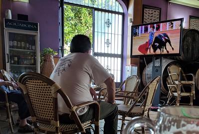 Bullfighting on TV at the bar