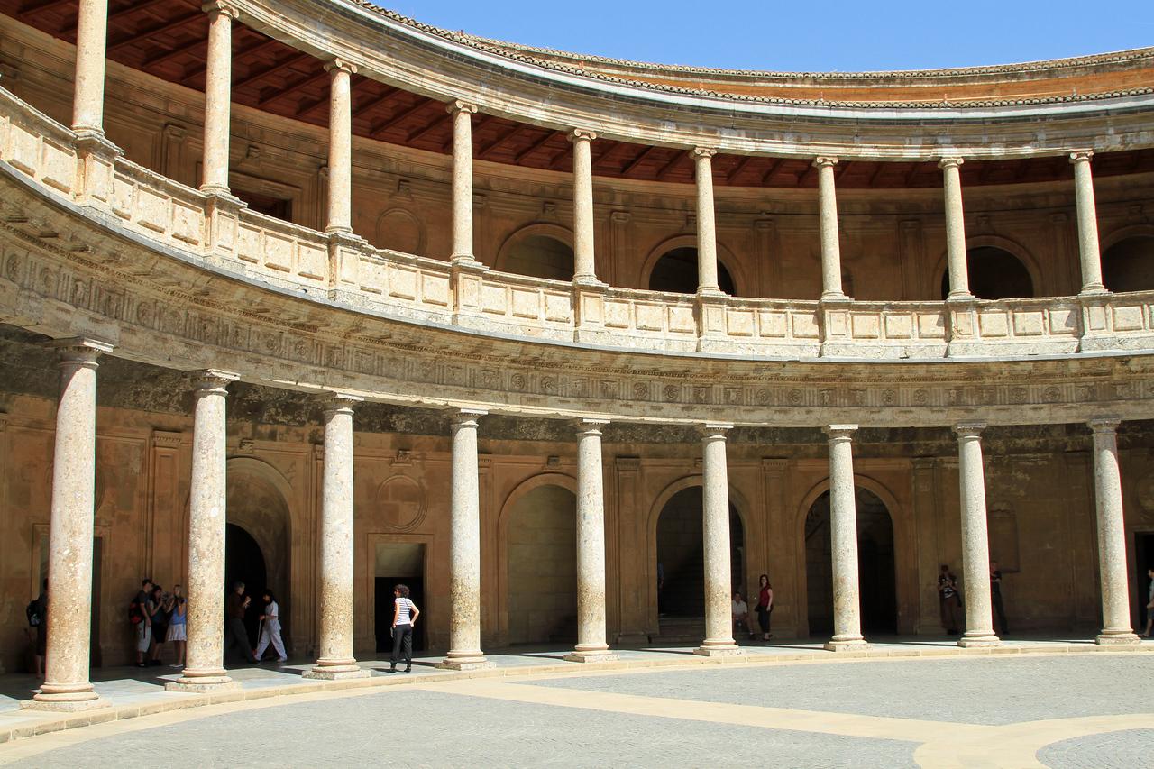 The central courtyard of Palacio Carlos V, Alhambra, Granada.