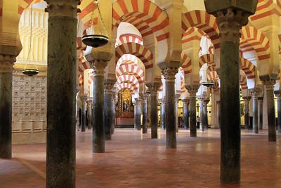 The interior of Mezquita, Cordoba.