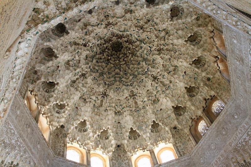 Ceiling detail inside Palacio Nazaries, Alhambra, Granada.