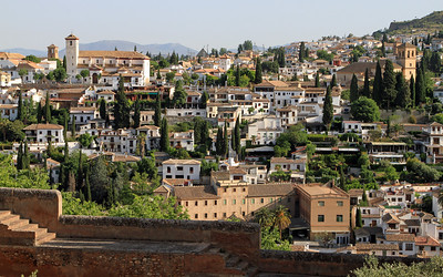 The town of Granada viewed from Alhambra.