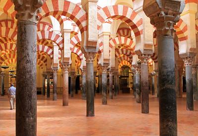 Arches and pillars inside Mezquita, Cordoba.