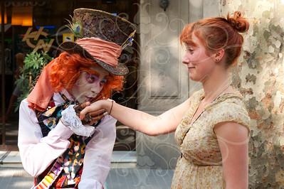 on Las Ramblas ~ The Mad Hatter the Wondrous Entertainer!