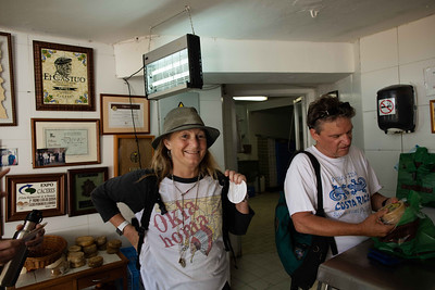 Melissa and Dana inside the Cheese factory