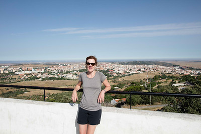Dana with Cáceres spread out behind her and a great plain of Extremadura