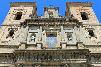 Toledo - The facade and twin towers of Iglesia de los Jesuitas.