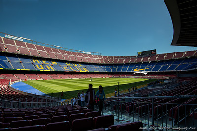 view of camp nou stadium from a spectator's perspective