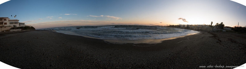 Mijas beach at the sunset