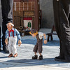 puppet show performance on streets of Barcelona, Spain