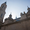 architecture of Nuestra Senora del Pilar basilica in Zaragoza, Spain