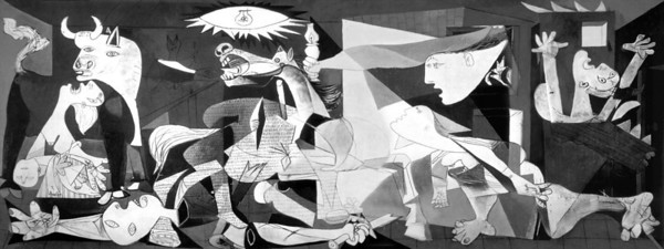 Guernica--Picasso's memorial to German bombing of a Basque village in 1937, in collusion with Franco. There is no consensus on how to interpret the symbolism, but some see the bull as a symbol for Spain. (This is of course a ringer; fotografía prohibida.)